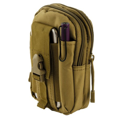 Samsung Galaxy Sol 2 Pouch - Tactical EDC MOLLE Utility Gadget Holder Pack Belt Clip Waist Bag Phone Carrying Holster - (Tan) and Atom Cloth for Samsung Galaxy Sol 2