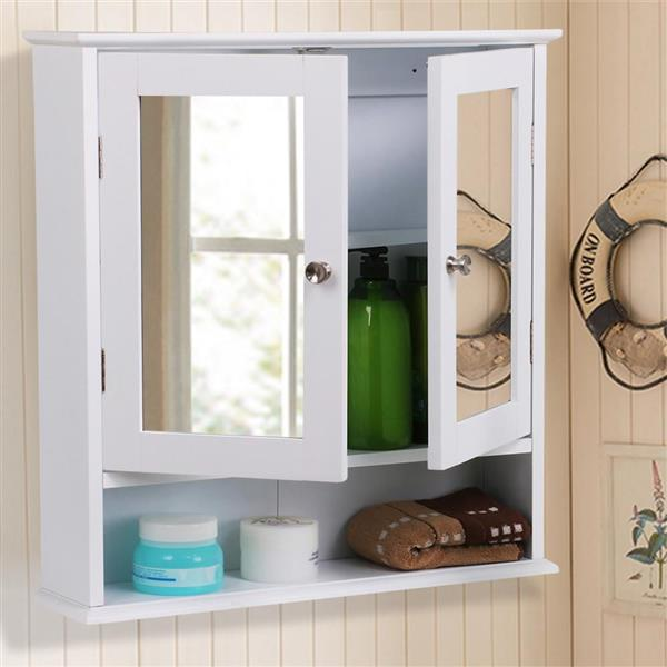 Bathroom Wall Cabinet With Mirror,White