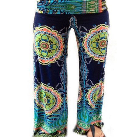 Summer Women Floral Loose Boho Harem Wide Leg Pants Palazzo Yoga Leisure Trouser