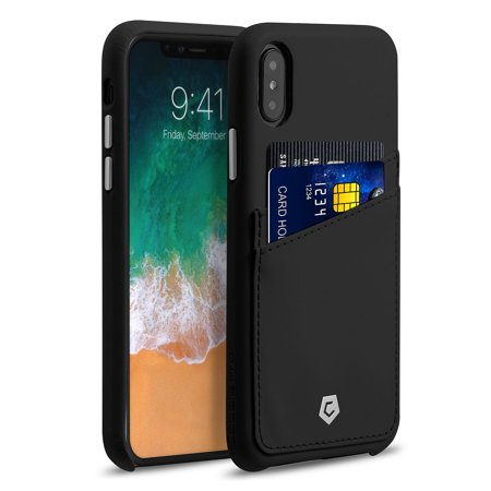 iPhone X Wallet Case with Screen Protector, by Cobble Pro Premium Credit Card Slot Holder Skin Leather Snap-on Case Phone Back Cover for Apple iPhone X - Black (Bundle with Mirror Screen