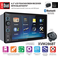Dual Electronics XVM286BT 6.2 inch LED Backlit LCD Multimedia Touch Screen Double DIN Car Stereo with Built-In Bluetooth, USB/microSD Ports & Steering Wheel Remote Control