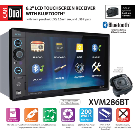 Multimedia Usb Stereo - Dual Electronics XVM286BT 6.2 inch LED Backlit LCD Multimedia Touch Screen Double DIN Car Stereo with Built-In Bluetooth, USB/microSD Ports & Steering Wheel Remote Control