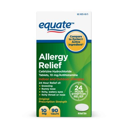 Equate Allergy Relief Cetirizine Antihistamine Tablets, 10 mg, 90 (Relief 90 Tablets)