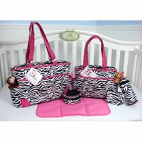 SOHO Pink Zebra 6-Piece Diaper Bag Set