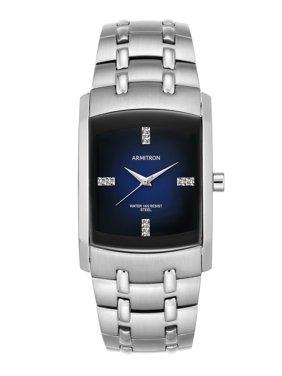 Armitron Men's Swarovski Crystal-Accented Silver-Tone Blue-Degrade Dial Dress Watch