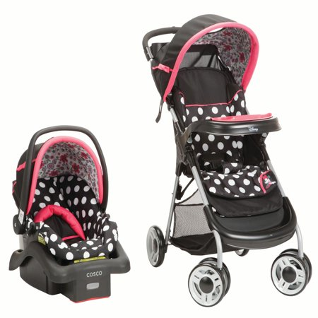 Disney Baby Minnie Mouse Lift & Stroll™ Plus Travel System, Minnie Coral (Sun Plus Travel System)
