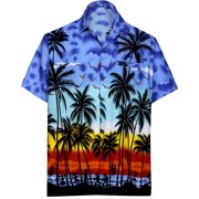 b2544f9b0117 Hawaiian Shirt Mens Beach Aloha Camp Party Holiday Button Down Pocket Palm  Tree Print Q