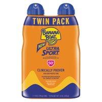 Banana Boat Ultra Sport Clear Sunscreen Spray SPF 50+, 12 oz Twin Pack