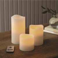 Product Image Better Homes Gardens Flameless LED Pillar Candles 3 Pack Vanilla Scented
