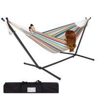 Best Choice Products Double Hammock Set w/ Accessories - Rainbow Stripe