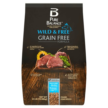 Pure Balance Wild & Free Grain Free Formula Bison, Pea & Venison Recipe Food for Dogs, 24