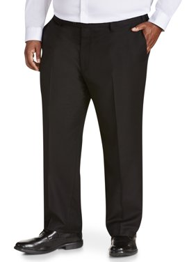Canyon Ridge Big Men's Solid Black Flat Front Suit Pant, up to size 62