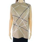 1669e43d4b6994 INC NEW Beige Womens Size Medium M Mock-Neck Vest Sleeveless Sweater