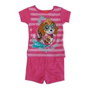 lowest price d617c 732da Nickelodeon Little Girls Fuchsia Paw Patrol Short Sleeve 2 Pcs Pajama Set
