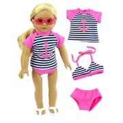 0dfd47a593922 Anchor Rash Guard, Bikini Top, and Bikini Bottoms Bathing Suit for 18 Inch  Doll