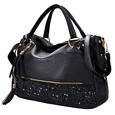Womens Handbags, Fashion Punk Style Shining Sequin Faux Leather Tote Bag Hobo Bag for Girls Women Ladies -