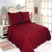 """All for You 3pc Reversible Quilt Set, Bedspread, or Coverlet-Highly recommend measuring bed, size may run small-5 different sizes-Burgundy color ( full/queen 86""""x 86"""" with standard pillow shams)"""