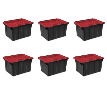 - Sterilite, 12 Gal./45 L Hinged Lid Industrial Tote, Case of 6