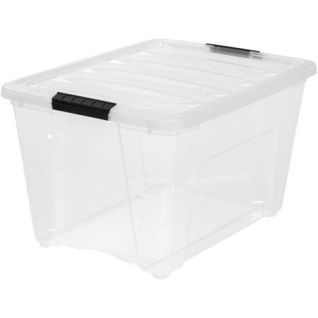 - IRIS 54 Qt. Stack and Pull Plastic Storage Box, Clear