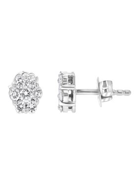 1/2 CT. T.W. Diamond Flower Stud Earrings in 14K White Gold (H-I, SI2-I1)