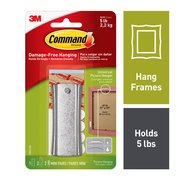 Command Sticky Nail Sawtooth Hanger, White, 1 Hanger, 2 Large strips, 2 Sets of Mini Strips/Pack