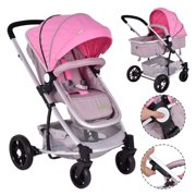 Costway 2 In1 Foldable Baby Stroller Kids Travel Newborn Infant Buggy Pushchair Pink
