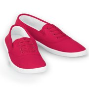 Ladies Slip-On No Tie Comfort Canvas Round Toe Sneaker Shoes, 9, Red