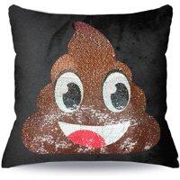 EmojiPals Poop Reverisble Sequin Decorative Pillow