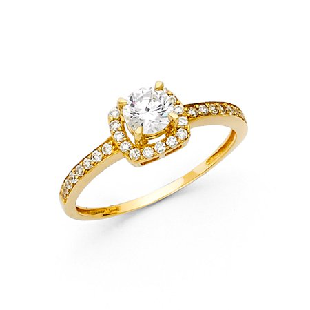 14K Solid Yellow Gold 1.25 cttw Round Cubic Zirconia with Side Stones Wedding Engagement Ring , Size 4