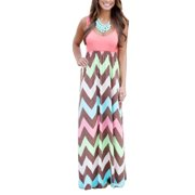37ea501fc5 Plus Size Women Sleeveless Long Maxi Dress Ladies Casual Stripes Sun Dress  V Neck Loose Boho