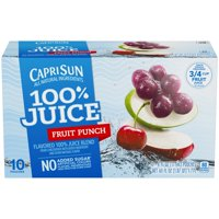 (4 Pack) Capri Sun 100% Juice Fruit Punch Ready-to-Drink Soft Drink, 10 - 6 fl oz Pouches