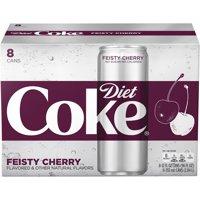 (3 Pack) Diet Coke Slim Can Soda, Feisty Cherry, 12 Fl Oz, 8 Count