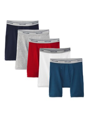 Fruit of the Loom Assorted Cotton Boxer Briefs, 5 Pack (Big Boys)
