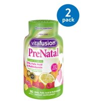 (2 Pack) Vitafusion Prenatal DHA, Folic Acid & Multivitamin Gummies, 90 Ct