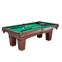 MD Sports Crestmont 8 ft Billiard Pool Table, Includes billiard balls, two cue sticks, triangle rack, two chalk and brush, Brown/Green