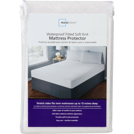 Mainstays Waterproof Fitted Soft Knit Mattress Protector, 1