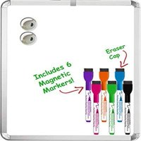 Kedudes Magnetic 11'' x 14'' Dry Erase Whiteboard. Includes 6 Magnetic Dry Erase Markers, Assorted Colors. Great For Fridge, Locker, and More!