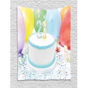 21st Birthday Decorations Tapestry Legal Age Of USA 21 Party Cake With Colorful Balloons