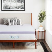 "Lucid 3"" Lavender Plush Memory Foam Mattress Topper"