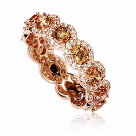 - Rose Sterling Silver Cubic Zirconia Champagne Round Eternity Band