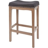 """Better Homes & Gardens Wayne 29"""" Saddle Stool, Black Faux Leather with Rustic Grey Finish"""