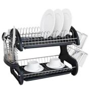66f119a30a2f Ktaxon 2 Tier Dish Drainer Drying Rack Large Capacity Kitchen Storage  Stainless Steel Holder,Washing