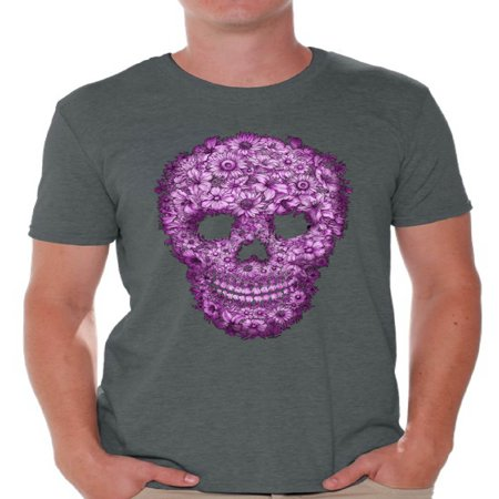 Awkward Styles Flower Skull Tshirt for Men Floral Sugar Skull Shirt Sugar Skull Shirt Day of the Dead T Shirt for Men Dia de los Muertos Gifts for Him Halloween Outfit Sugar Skull Flowers T-Shirt
