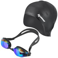IPOW Swim Cap Swimming Goggles, Swimming Cap for Long Hair Swimming Glasses Anti-fog UV Protection Coated Lens No Leaking for Adults Youths Men Women Boys Girls Kids Triathlon