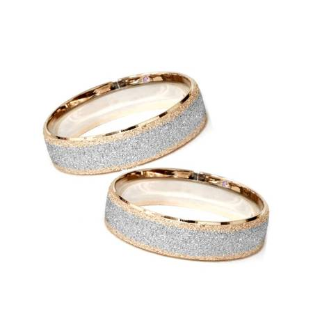 Matching His & Hers 14K Rose & White Gold Wedding Bands Mens Womens
