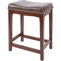 "Better Homes & Gardens Wayne 24"" Saddle Stool, Camel Faux Leather with Dark Pecan Wood Finish"