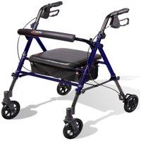 Carex Step 'N Rest Rolling Rollator Walker with Seat and Backrest Walker For Seniors