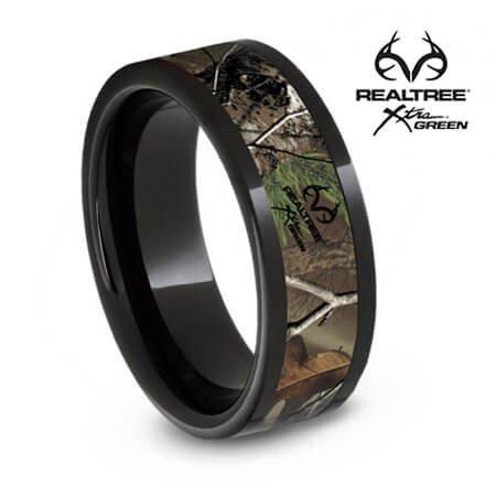Authentic Realtree Xtra Green Camo Ring, Black Ceramic Band](Camo Ring)