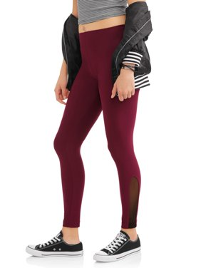 Juniors' Fashion Side Mesh Ankle Leggings (Prints & Solids)