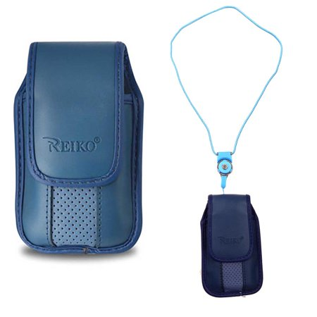 Around the Neck Hanging Lanyard Magnetic Top Blue Case fits Consumer Cellular 101 Flip Phone.
